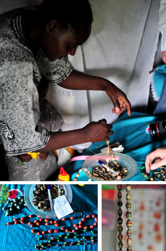 Eunice makes beads