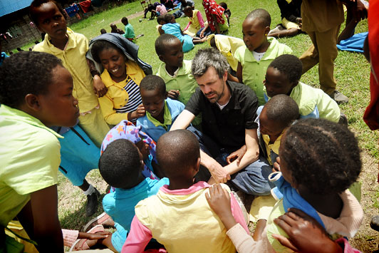 Shaun Groves with Compassion International girls in Kenya