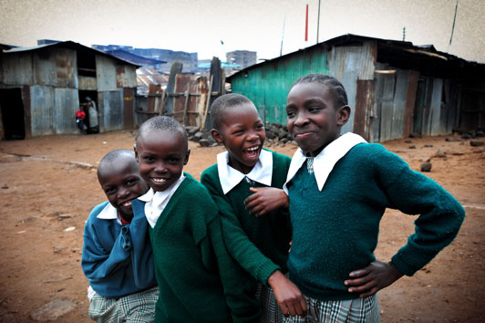Compassion International sponsored children in Methare Valley slum Kenya