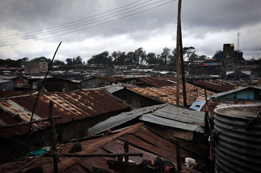 rooftops in Methare Valley Slum Kenya
