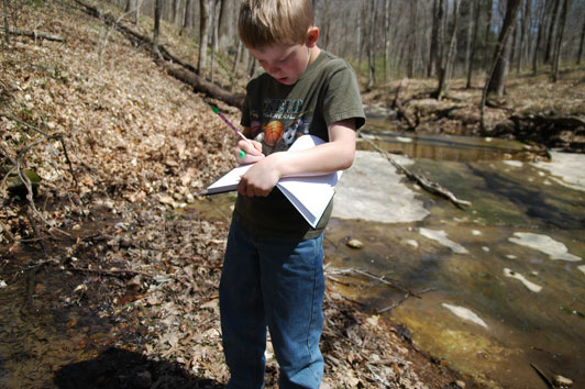 boy sketching in the woods