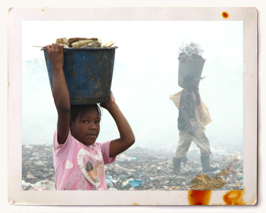 Girl foraging for food at dump in Dominican Republic