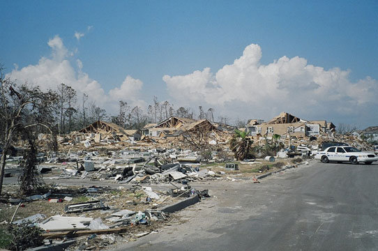 Hurricane-Katrina damaged neighborhood houses