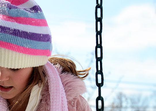 Girl in striped hat