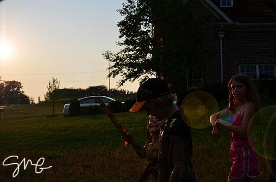 Kids walking at dusk