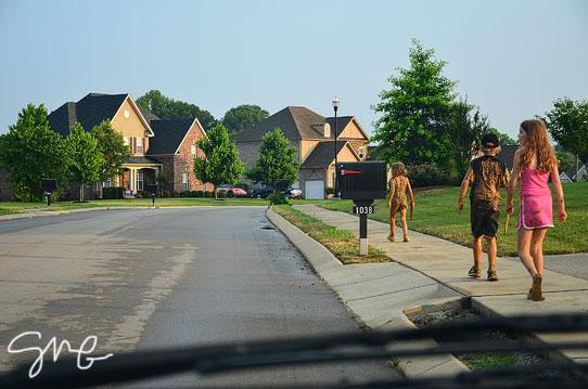 Kids walking home