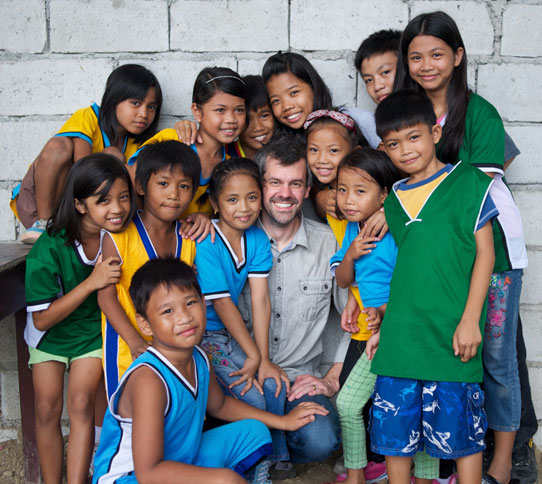 Shaun Groves with Compassion International kids