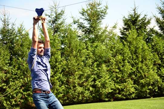 Shaun Groves on a zipline