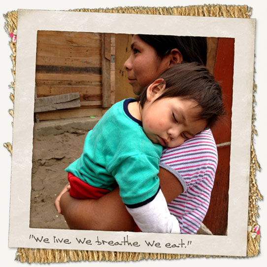 Mother and son in Peru