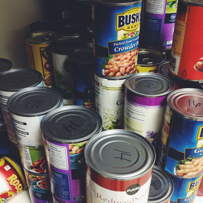 stacks of canned food