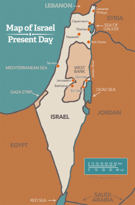 Israel map with Palestinian territory