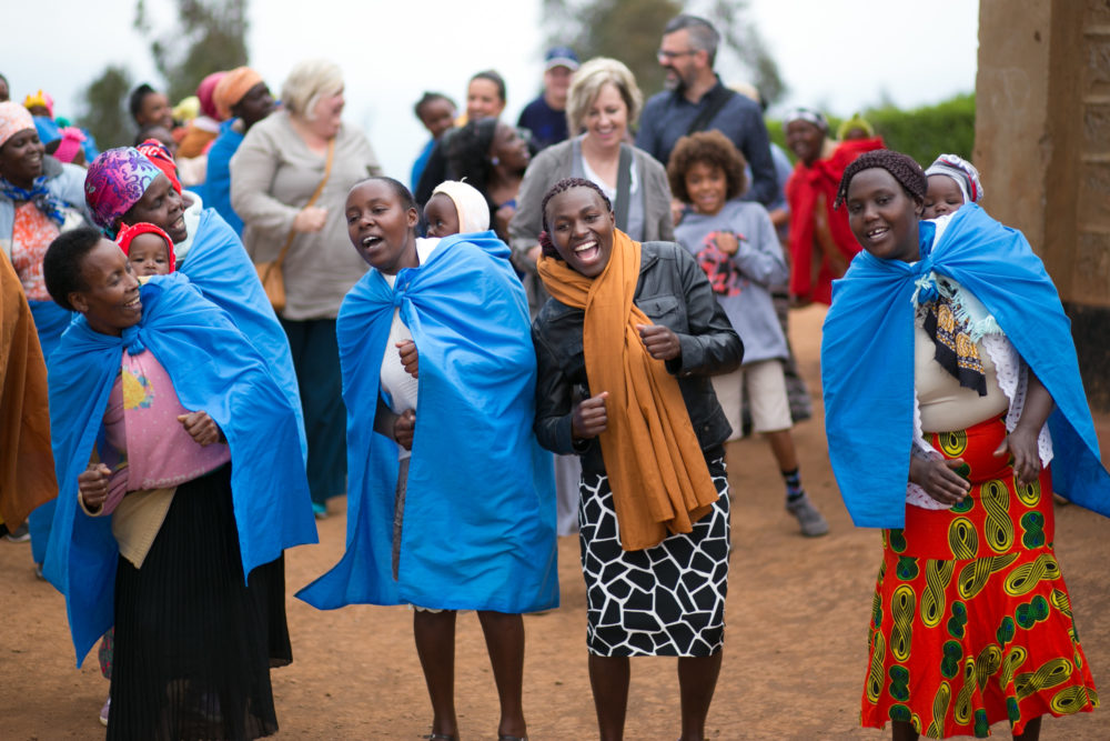 Dancing with Kenyan women